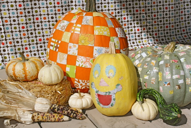 When I came across the October issue of Midwest Living which pictured a pumpkin checkered with ribbon pieces I thought Hey ribbon is coolu2026 but vintage ... & DIY Fall Decorating Ideas: Enhance Pumpkins with Vintage Wallpaper ...
