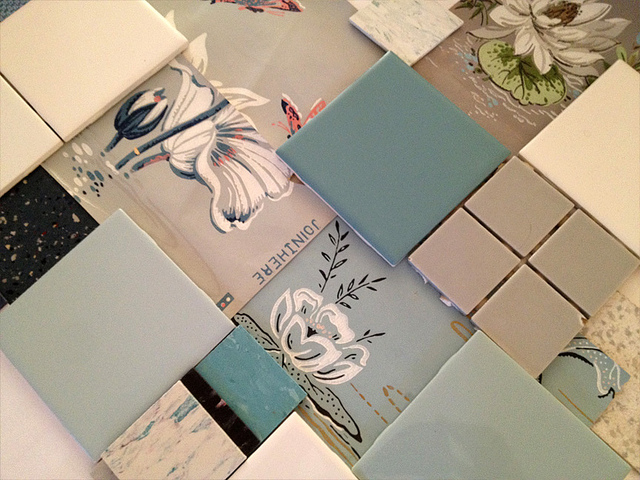 Nanette's Bathroom - Vintage Wallpaper and Tile Samples