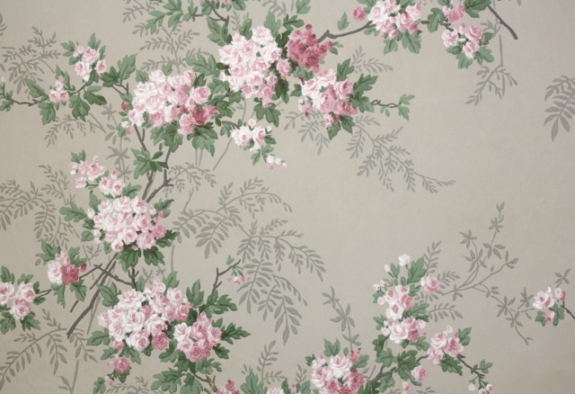 This Wallpaper With Its Pretty Pink Roses On Gray Has Always Been One Of Our Favorites Now It Lines The Walls A Bedroom In Meadow Manor