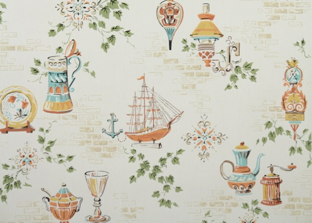 Vintage Kitchen Wallpaper - Nautical and Nice