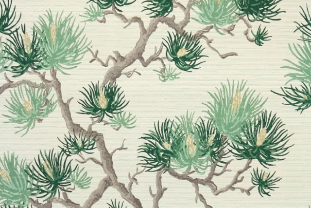pine branches vintage wallpaper
