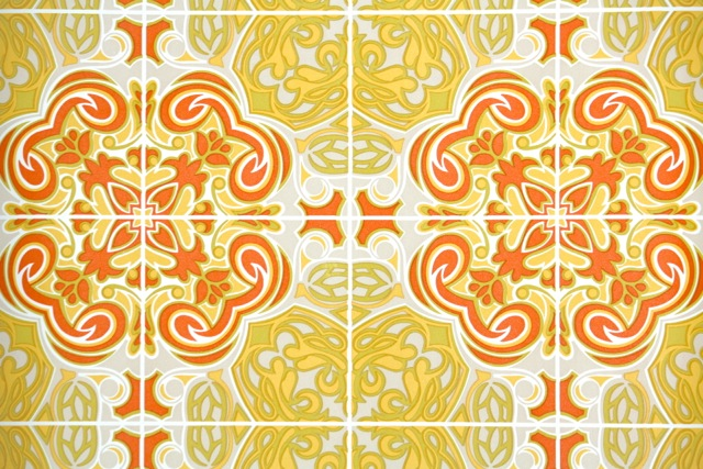 Yellow and Orange Retro Stained Glass Wallpaper