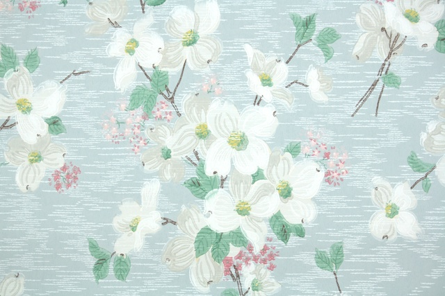 vintage wallpaper dogwood blossoms