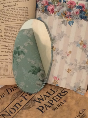 vintage wallpaper and hand cut mirror