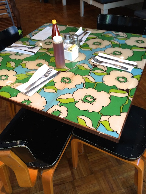 vintage wallpaper tabletops, The Lucky Platter