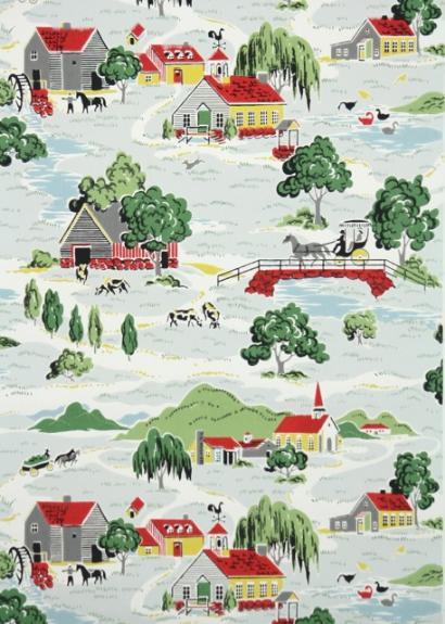Country Farm Vintage Wallpaper
