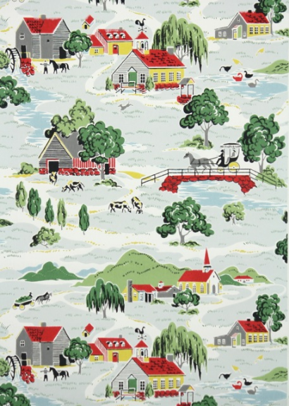 Country Farm Vintage Wallpaper