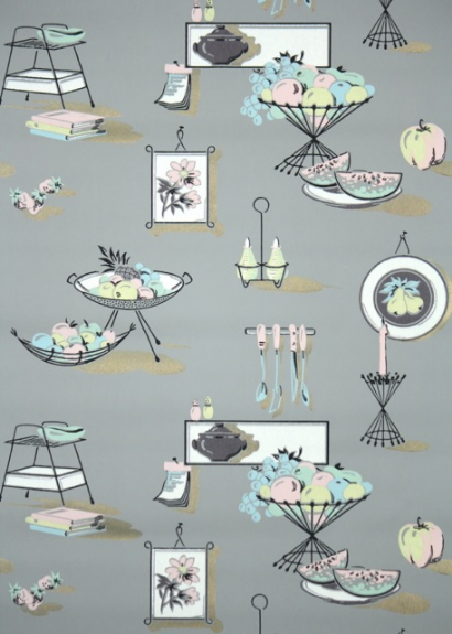 Gray and Pastel Vintage Kitchen Wallpaper