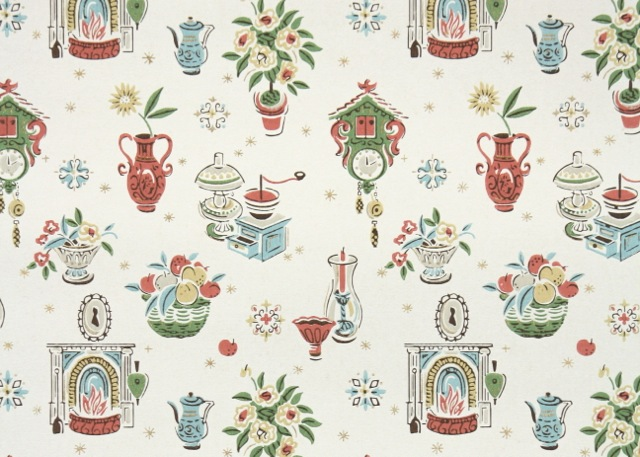 For a retro kitchen hannah 39 s treasures vintage wallpaper for Kitchen print wallpaper