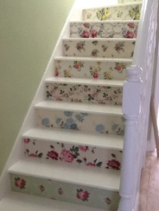 Floral Vintage Wallpaper Stairs