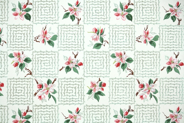 vintage wallpaper pink and green cherry blossoms