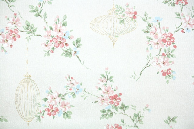 Vintage Wallpaper Cherry Blossoms and Lanterns