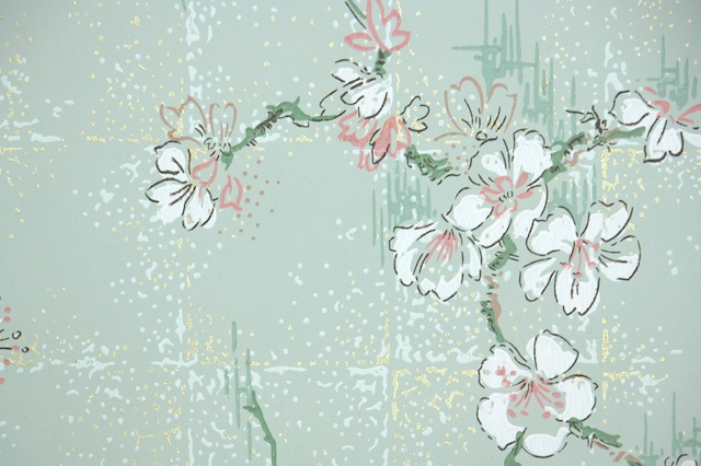 Vintage Wallpaper Cherry Blossoms