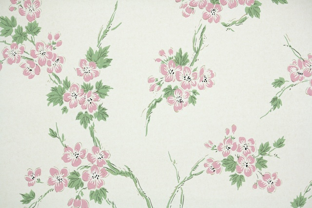 vintage wallpaper pink cherry blossoms
