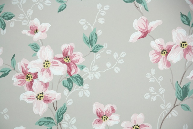 vintage wallpaper dogwood