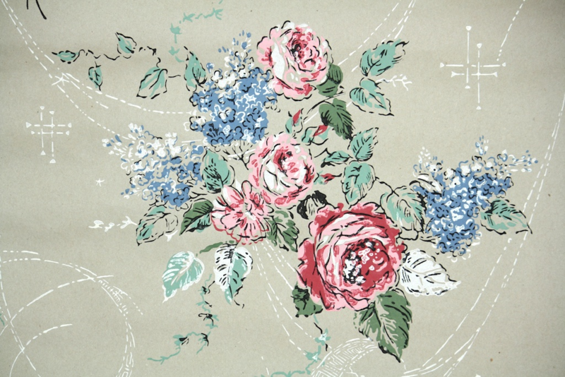 vintage kraft paper wallpaper floral