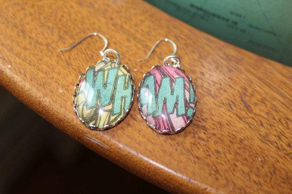 vintage comic earrings from Vintagetypegirl on Etsy