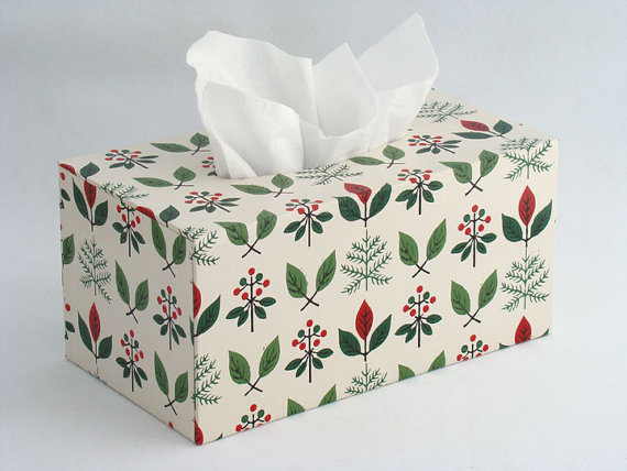 vintage wallpaper covered tissue box from Fondue on Etsy
