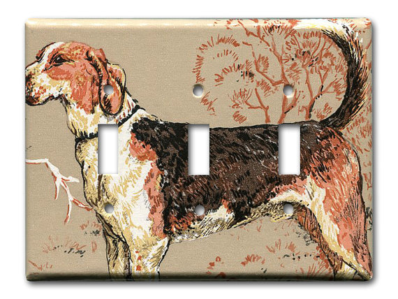 vintage wallpaper dog switch plate from Fondue on Etsy