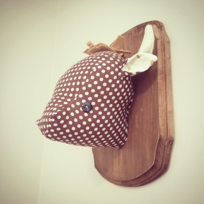 plush taxidermy, faux buffalo head for baby nursery