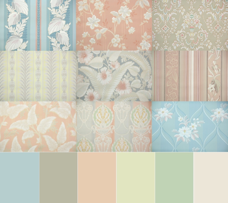 1930's vintage wallpaper color pallette