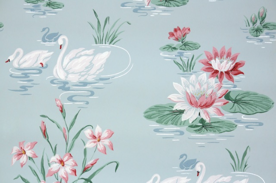 swans and lilies vintage wallpaper from Hannahs Treausres Vintage Wallpaper