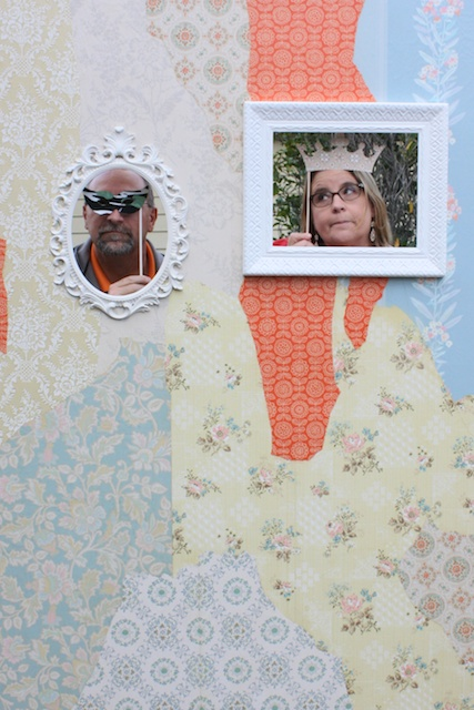 Vintage Wallpaper Photo Booth DIY Wedding Idea