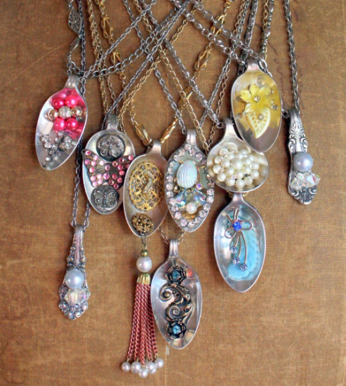 Repurposed Vintage Spoon Pendants from Mitzi's Collectibles