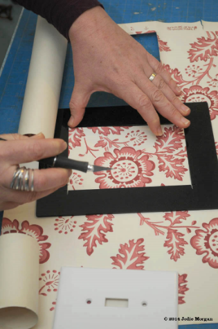 handmaking a vintage wallpaper switch plate