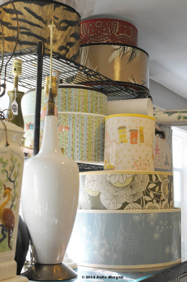 vintage wallpaper lamp shades from Fondue Vintage Homewares