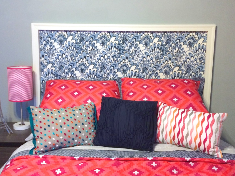 DIY vintage wallpaper headboard for teen girl bedroom