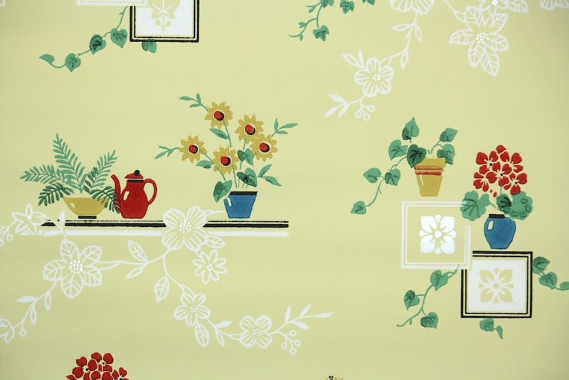 Hannah's Treasures Vintage Kitchen Wallpaper