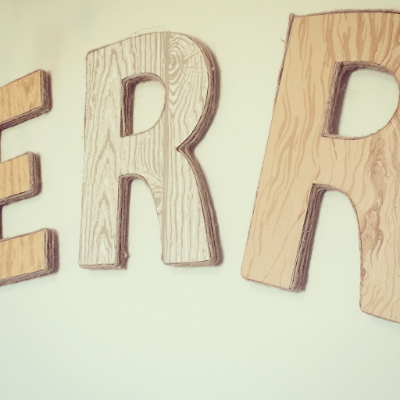 DIY vintage wallpaper wood grain letters