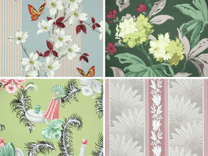 vintage wallpaper Remnants & Rolls by Hannahs Treasures