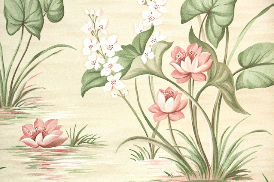 water lily bathroom vintage wallpaper from Hannahs Treasures
