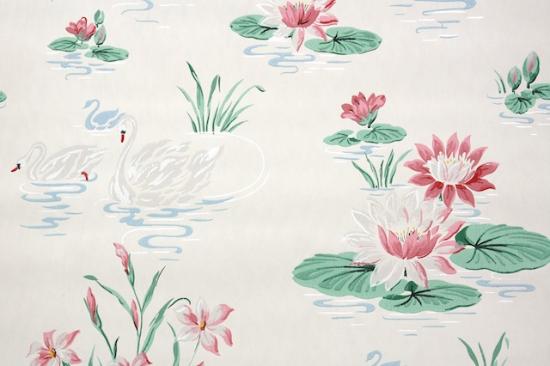 Swans and Water Lilies Bathroom Vintage Wallpaper from Hannah's Treasures Vintage Wallpaper