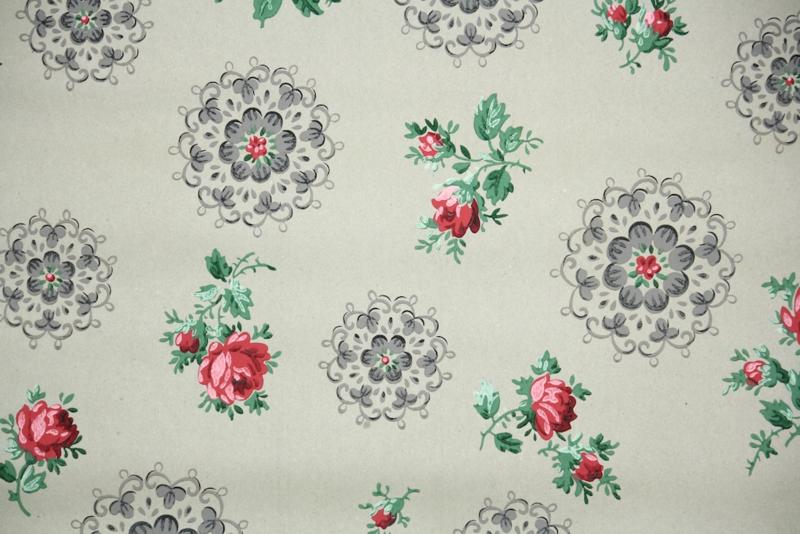 vintage kraft paper wallpaper floral roses