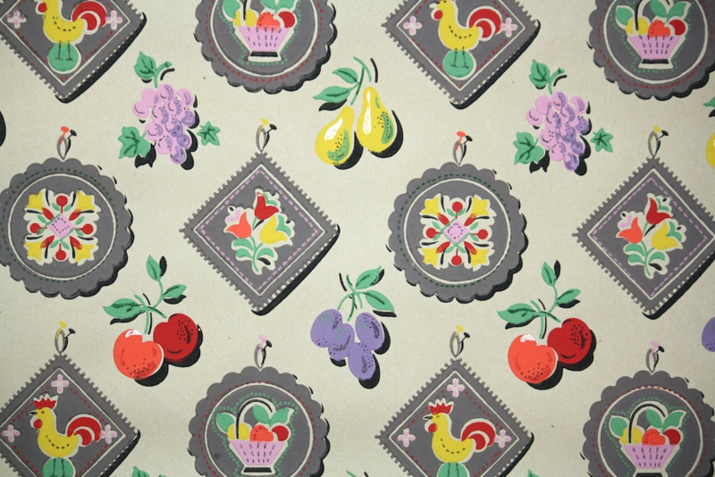 vintage kraft paper wallpaper kitchen fruit and chickens