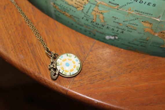 vintage wallpaper necklace from Vintagetypegirl on Etsy