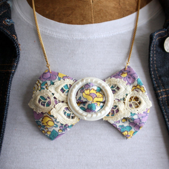 Feedsack Fabric Bow Necklace from Mitzi's Collectibles on Etsy