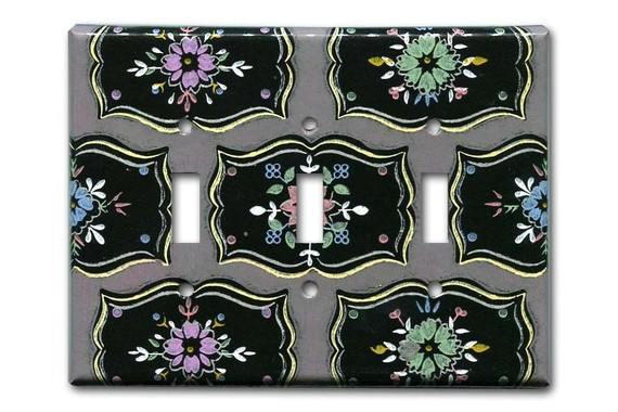 vintage wallpaper switch plate from Fondue on Etsy