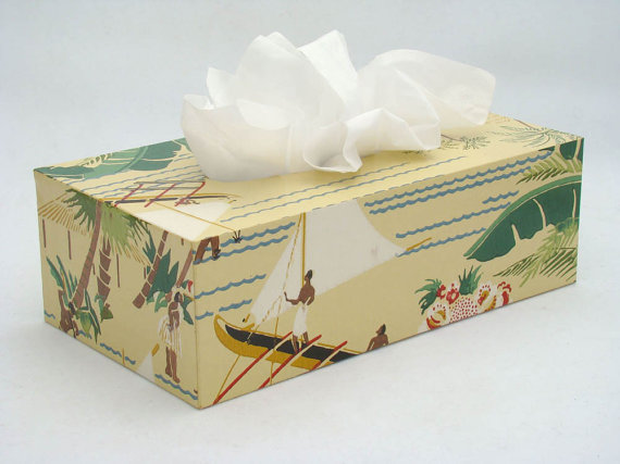 vintage wallpaper tissue box cover by Fondue on Etsy