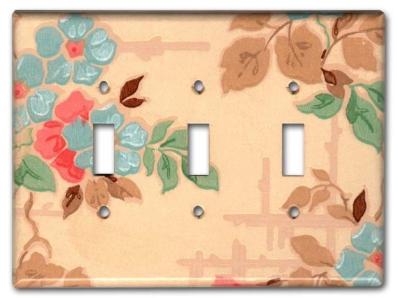 vintage wallpaper switch plate by Fondue on Etsy