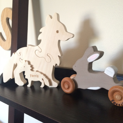 wooden baby toys from Etsy