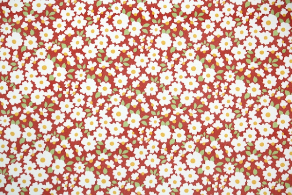 Red and White Daisies Vintage Vinyl Wallpaper