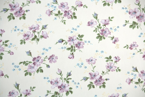 1950s Purple Floral Vintage Wallpaper