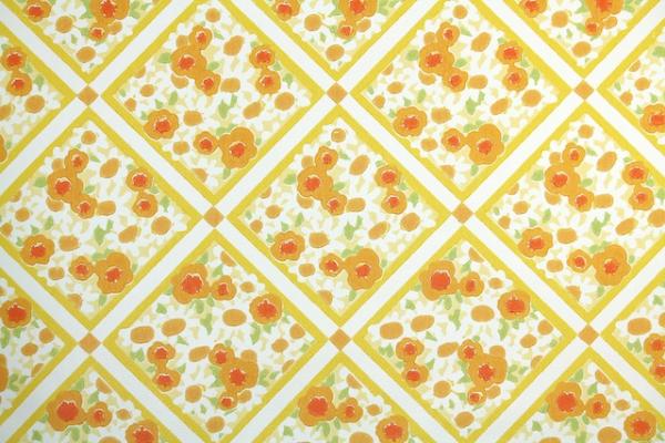 1970s Floral Vintage Wallpaper