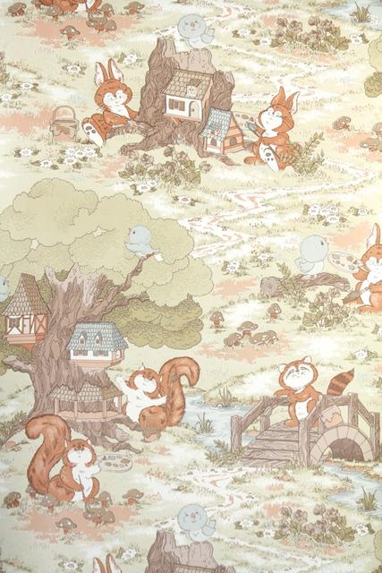 1970s Woodland Childrens Vintage Wallpaper