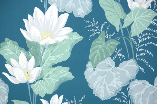 water lily bathroom vintage wallpaper from hannahs treasures vintage wallpaper