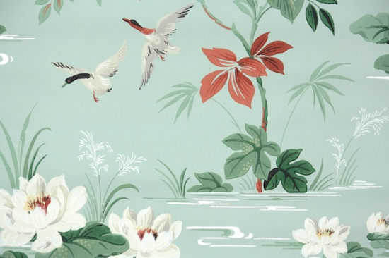 Ducks and Water Lilies Bathroom Vintage Wallpaper from Hannahs Treasures